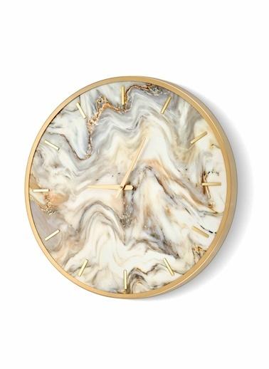 The Mia Duvar Saati Marble -  Krem 60x60 cm Krem